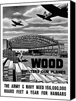 Veteran Canvas Prints - Wood Shelters Our Planes Canvas Print by War Is Hell Store