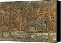 Cabin Window Canvas Prints - Woodcut Cabin Canvas Print by Jim Finch