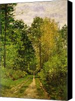 Lined Canvas Prints - Wooded Path Canvas Print by Claude Monet