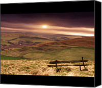 Solitude Canvas Prints - Wooden Bench In Field Canvas Print by Darren Muir