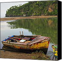 Williams Canvas Prints - Wooden Boat- St Lucia Canvas Print by Chester Williams