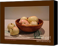 Wooden Bowls Canvas Prints - Wooden Bowl with Apples-I Canvas Print by Patricia Overmoyer
