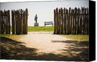 Jamestown Canvas Prints - Wooden Fence And Statue Of John Smith Canvas Print by Roberto Westbrook