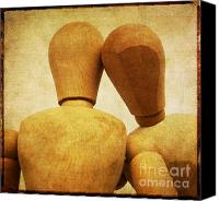 Dolls Canvas Prints - Wooden figurines Canvas Print by Bernard Jaubert