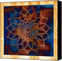 Ink Drawing Canvas Prints - Wooden Mandala Canvas Print by Hakon Soreide