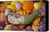 Sea Shells Canvas Prints - Wooden Mermaid Canvas Print by Garry Gay