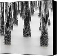 Wooden Post Canvas Prints - Wooden Pier Canvas Print by Geoffrey Gilson Photography