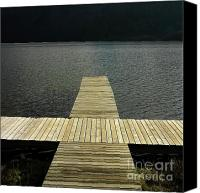 Jetty Canvas Prints - Wooden pontoon Canvas Print by Bernard Jaubert