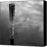 Wooden Post Canvas Prints - Wooden Post With Barbed Wire Canvas Print by Peter Levi