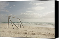 Goal Canvas Prints - Wooden Soccer Net On Beach Canvas Print by Bailey