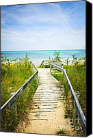 Leisure Canvas Prints - Wooden walkway over dunes at beach Canvas Print by Elena Elisseeva