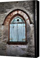 Stone Wall Canvas Prints - Wooden Window Shutters Canvas Print by Joana Kruse