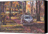 Campervan Canvas Prints - Woodland Canvas Print by Sharon Poulton