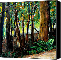 Pastel Landscape Canvas Prints - Woodland Trail Canvas Print by Michelle Calkins