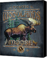 Moose Canvas Prints - Woodlands Moose Sign Canvas Print by JQ Licensing