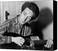 Woody Canvas Prints - Woody Guthrie (1912-1967) Canvas Print by Granger