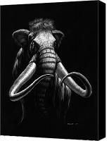 Featured Drawings Canvas Prints - Woolly Mammoth Canvas Print by Stanley Morrison