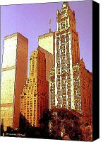 Cities Mixed Media Canvas Prints - Woolworth Building - New York Canvas Print by Peter Art Prints Posters Gallery