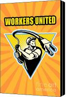 Triangle Canvas Prints - Worker United Canvas Print by Aloysius Patrimonio