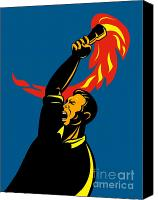 Retro Style Canvas Prints - Worker With Torch Canvas Print by Aloysius Patrimonio