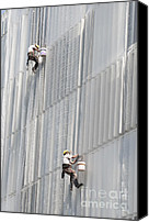 Washers Canvas Prints - Workers on facade of building Canvas Print by Matthias Hauser