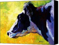 Barns Canvas Prints - Working Girl - Holstein Cow Canvas Print by Marion Rose