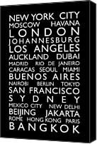 Text Map Canvas Prints - World Cities Bus Roll Canvas Print by Michael Tompsett