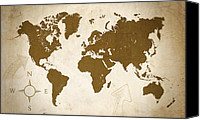 Map Art Canvas Prints - World Grunge Canvas Print by Ricky Barnard