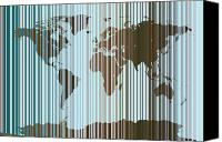 Map Of The World Digital Art Canvas Prints - World Map Abstract Barcode Canvas Print by Michael Tompsett