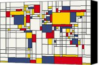 Black Digital Art Canvas Prints - World Map Abstract Mondrian Style Canvas Print by Michael Tompsett