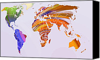 Map Art Canvas Prints - World Map Abstract Painted Canvas Print by Stefan Kuhn