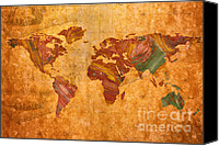 Abstract Map Painting Canvas Prints - World Map Abstract Painted Canvas Print by Zeana Romanovna