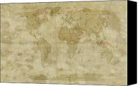 Panoramic Canvas Prints - World Map Antique Style Canvas Print by Michael Tompsett