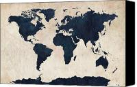 Print Digital Art Canvas Prints - World Map Distressed Navy Canvas Print by Michael Tompsett