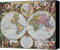Fournier Canvas Prints - World Map From Schencks Atlas Canvas Print by Photo Researchers