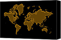 Map Of The World Photo Canvas Prints - World Map Gold Canvas Print by Andrew Fare
