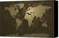 Geography Canvas Prints - World Map Gold Canvas Print by Michael Tompsett
