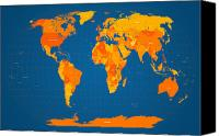 City Map Digital Art Canvas Prints - World Map in Orange and Blue Canvas Print by Michael Tompsett