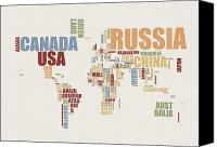 Map Of The World Digital Art Canvas Prints - World Map in Words 2 Canvas Print by Michael Tompsett