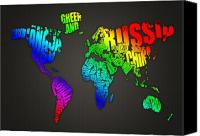 United States Mixed Media Canvas Prints - World Map in Words Canvas Print by Michael Tompsett