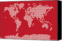 Contemporary Digital Art Canvas Prints - World Map Love Hearts Canvas Print by Michael Tompsett
