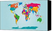 Global Digital Art Canvas Prints - World Map  Canvas Print by Michael Tompsett