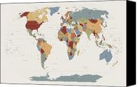 Panoramic Canvas Prints - World Map Muted Colors Canvas Print by Michael Tompsett
