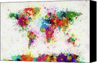 City Map Digital Art Canvas Prints - World Map Paint Drop Canvas Print by Michael Tompsett