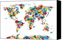 Paint Canvas Prints - World Map Paint Drops Canvas Print by Michael Tompsett