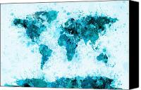 Map Of The World Digital Art Canvas Prints - World Map Paint Splashes Blue Canvas Print by Michael Tompsett