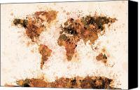 Brown Canvas Prints - World Map Paint Splashes Bronze Canvas Print by Michael Tompsett