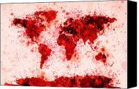 Panoramic Canvas Prints - World Map Paint Splashes Red Canvas Print by Michael Tompsett
