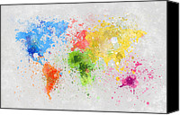 Abstract Map Pastels Canvas Prints - World Map Painting Canvas Print by Setsiri Silapasuwanchai
