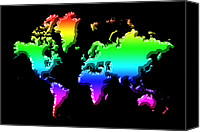 Map Of The World Photo Canvas Prints - World Map Rainbow Canvas Print by Andrew Fare